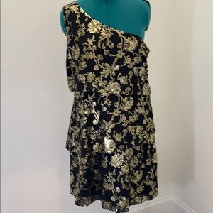 Ava & aiden black and gold foil floral tier dress